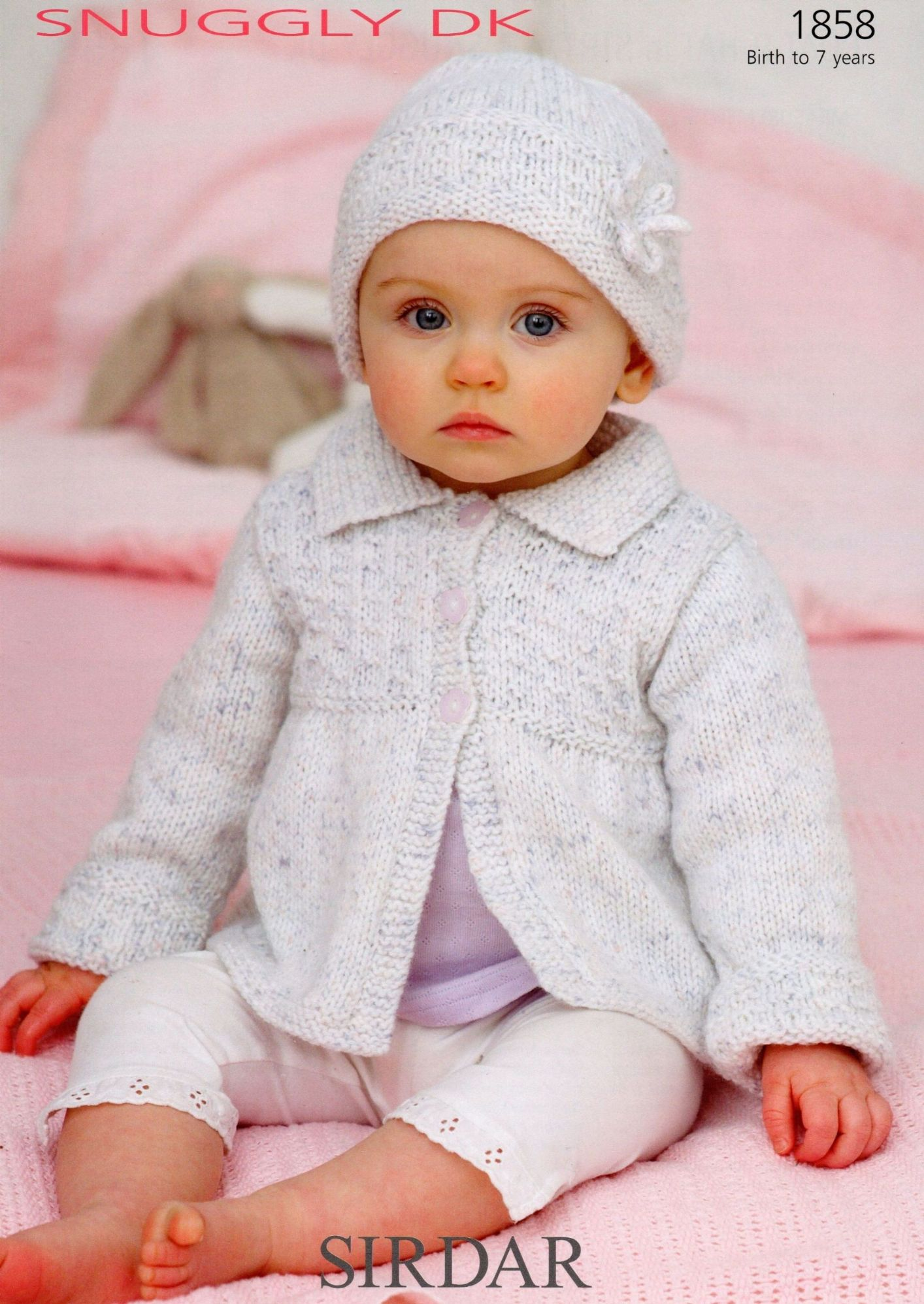 1858 - SIRDAR SNUGGLY DK COAT & HAT KNITTING PATTERN - TO FIT 0 TO 7 YEARS