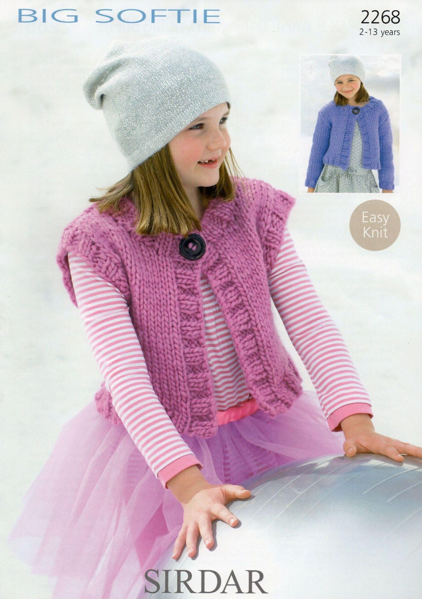 Sirdar Big Softie Knitting Patterns : 2268 - SIRDAR BIG SOFTIE DENIM ULTRA CARDIGAN & WAISTCOAT KNITTING PATTER...