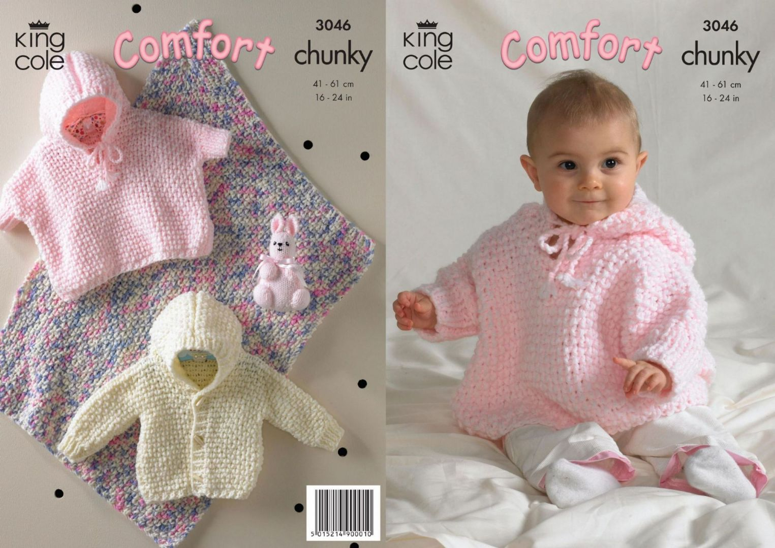 3046 - KING COLE COMFORT CHUNKY BLANKET JACKET CAPE & RABBIT KNITTING PAT...