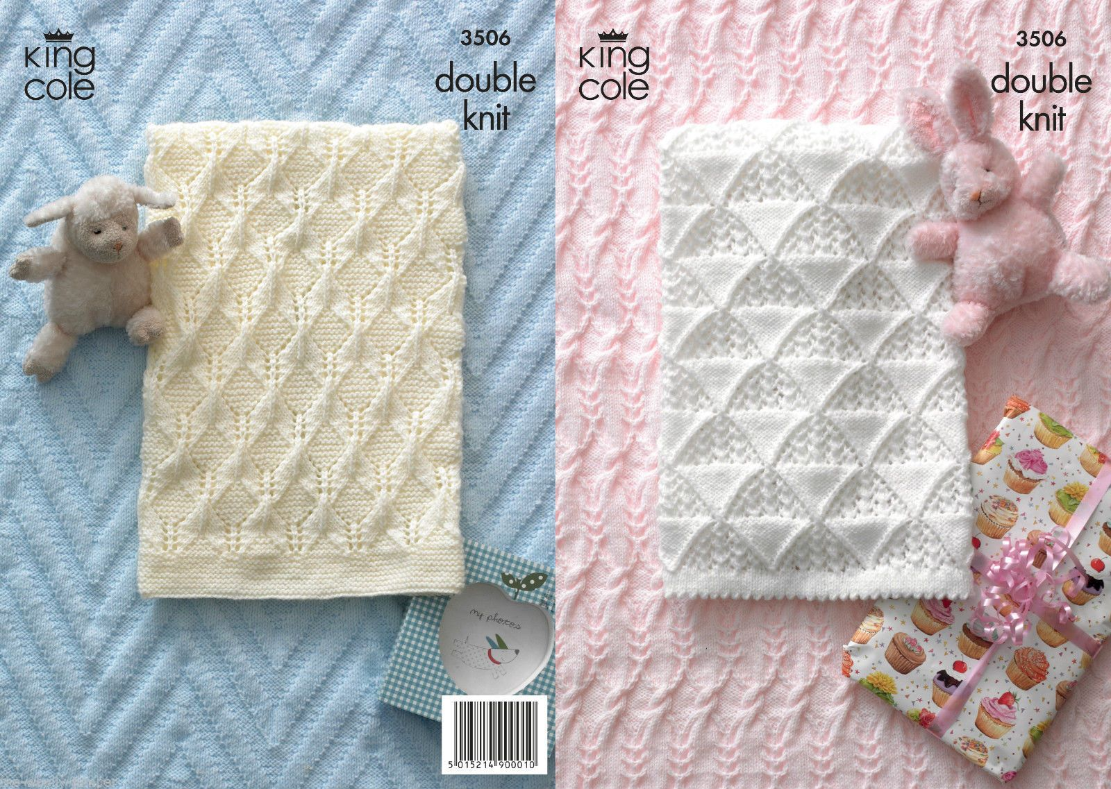 3506 - KING COLE COMFORT DK BABY BLANKET KNITTING PATTERN