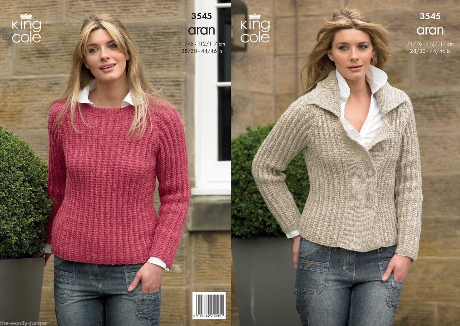 3545 - KING COLE FASHION ARAN SWEATER & JACKET KNITTING PATTERN - TO ...