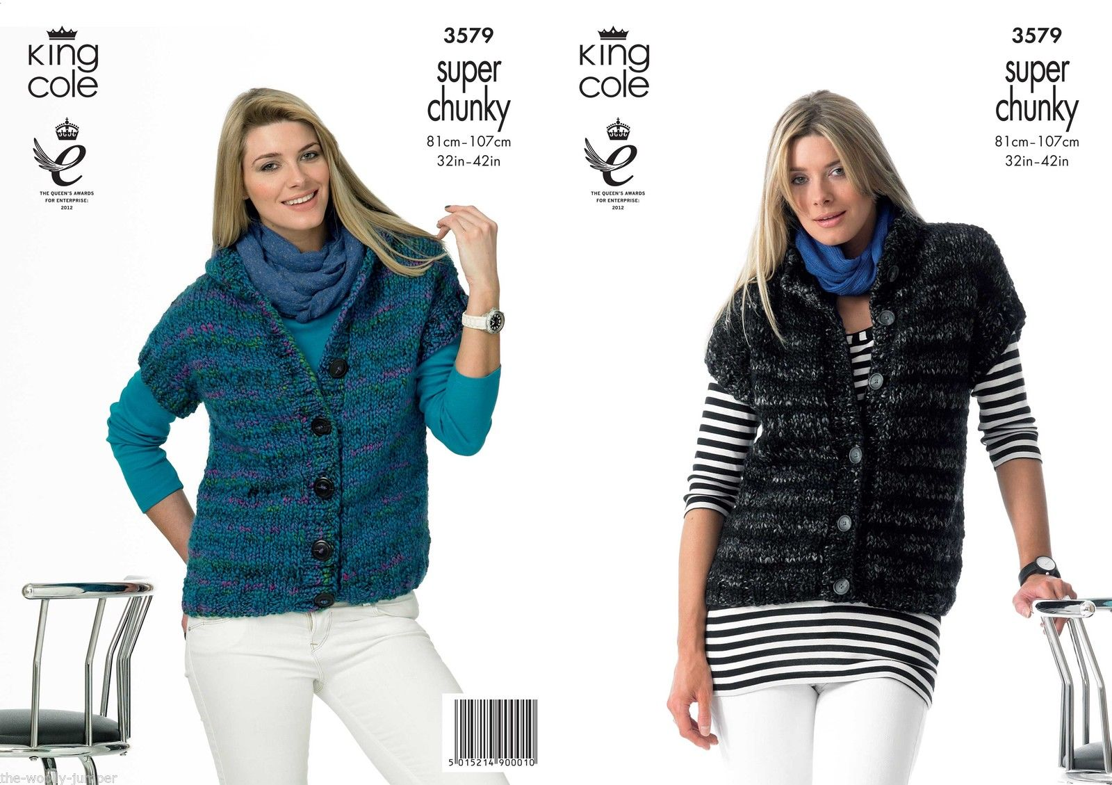 3579 - KING COLE GYPSY SUPER CHUNKY GILET WAISTCOAT KNITTING PATTERN - TO FIT...
