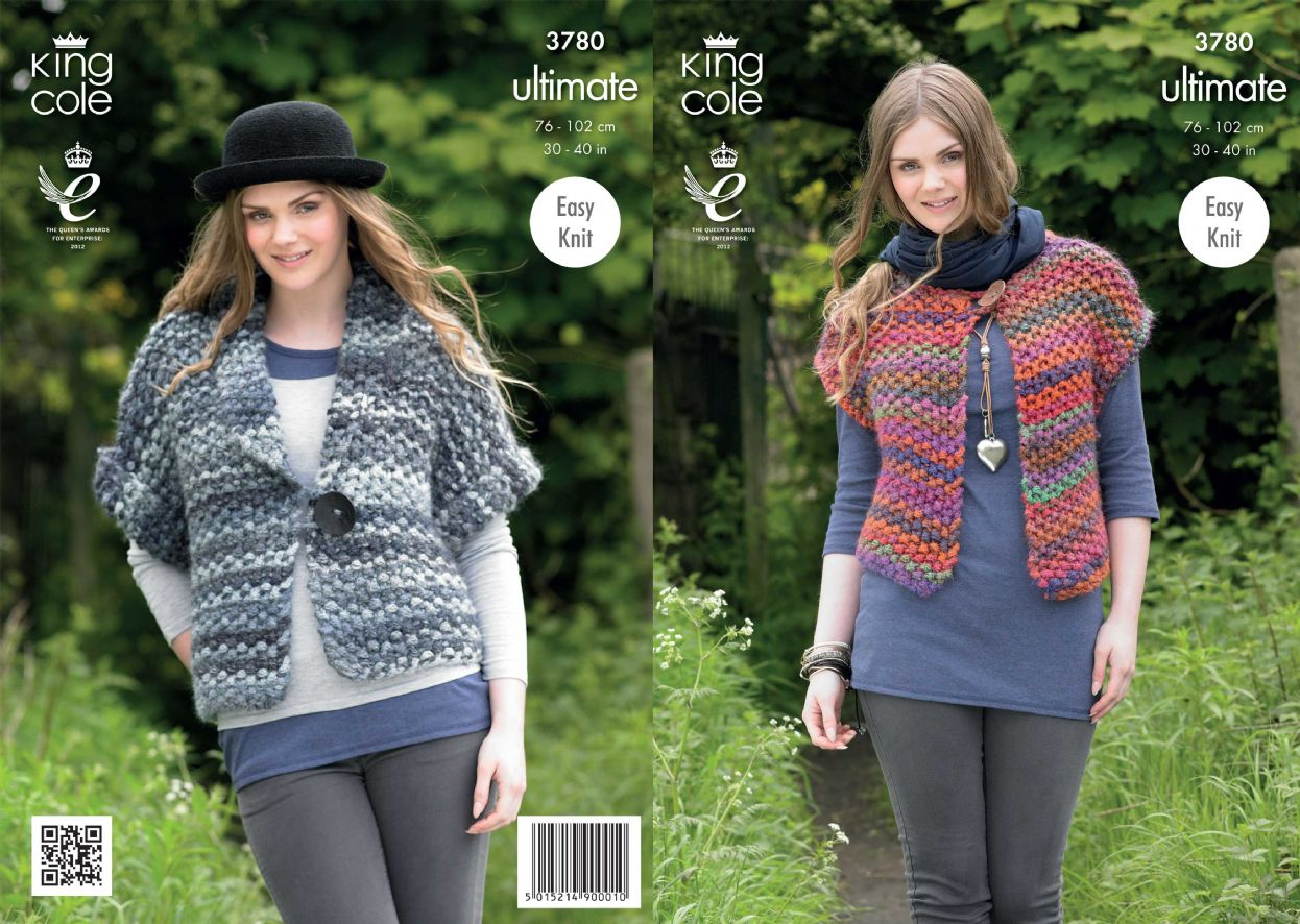 3780 - KING COLE ULTIMATE SUPER CHUNKY WAISTCOAT JACKET KNITTING ...