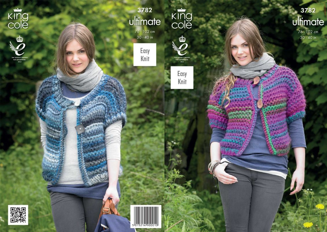 3782 - KING COLE ULTIMATE SUPER CHUNKY EASY KNIT CARDIGAN & WRAP ...