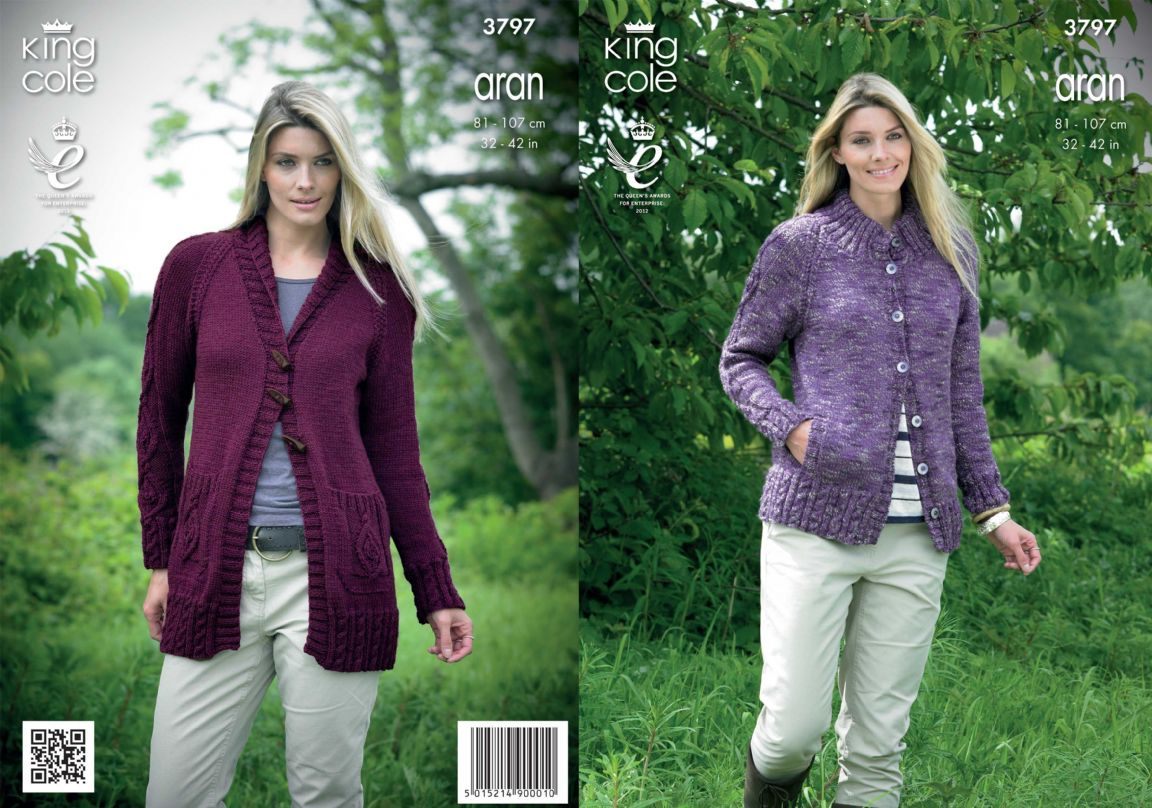 Knitting Jumper Pattern : King cole moorland aran fashion cardigan knitting