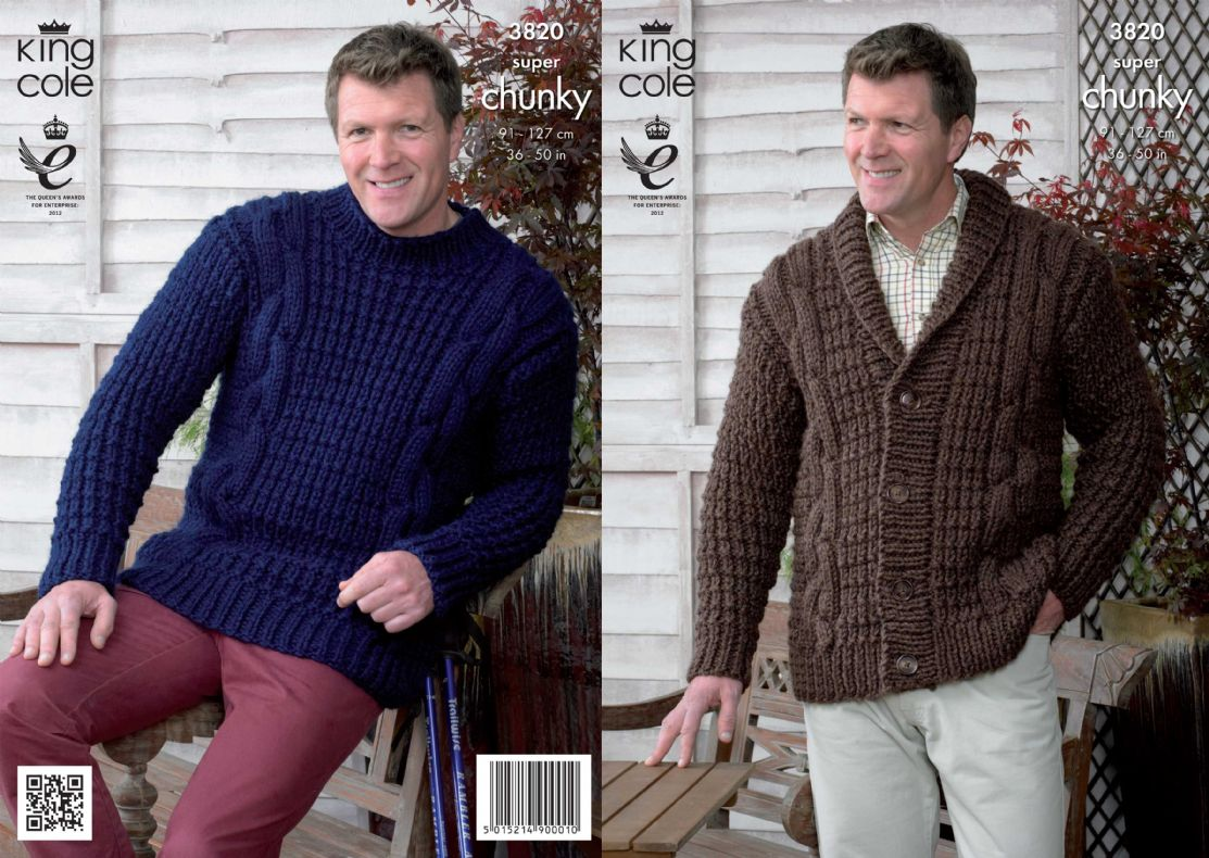 3820 - KING COLE BIG VALUE SUPER CHUNKY JACKET & SWEATER KNITTING ...