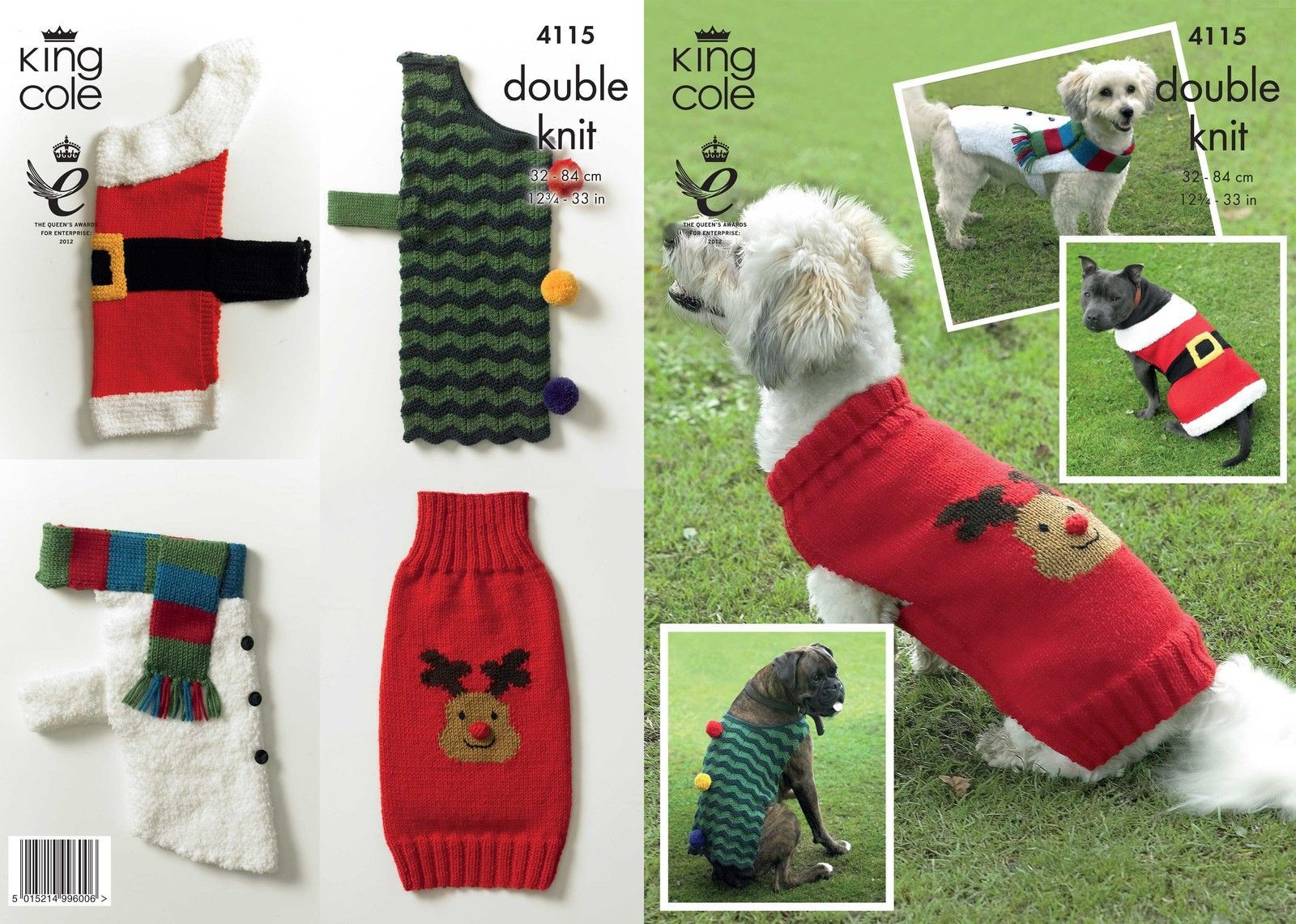 4115 - KING COLE DK CHRISTMAS DOG COAT KNITTING PATTERN - SIZE 12.75 TO 33