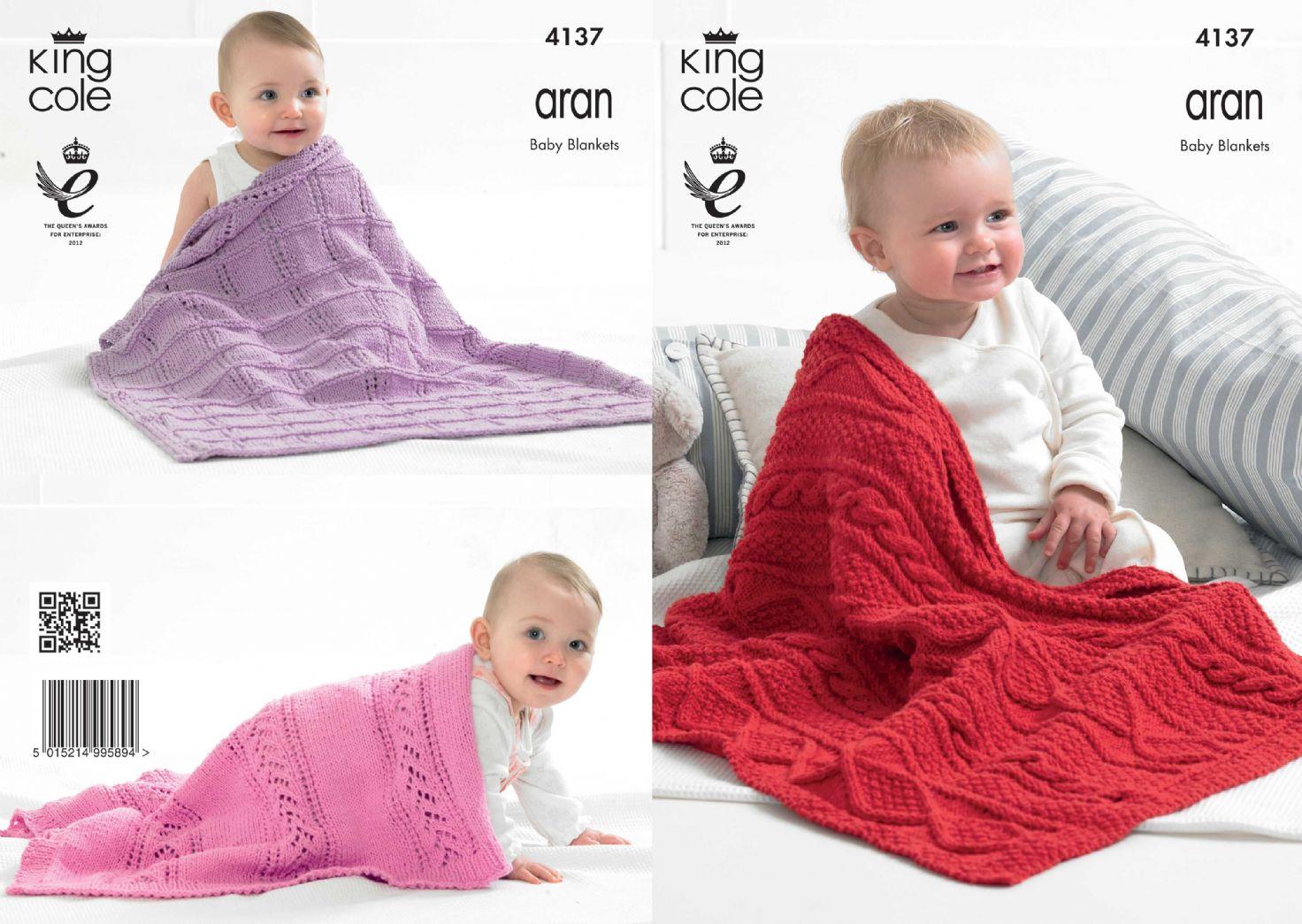 Aran Knitting Pattern Baby Blanket : 4137 - KING COLE BIG VALUE RECYCLED COTTON ARAN BABY ...