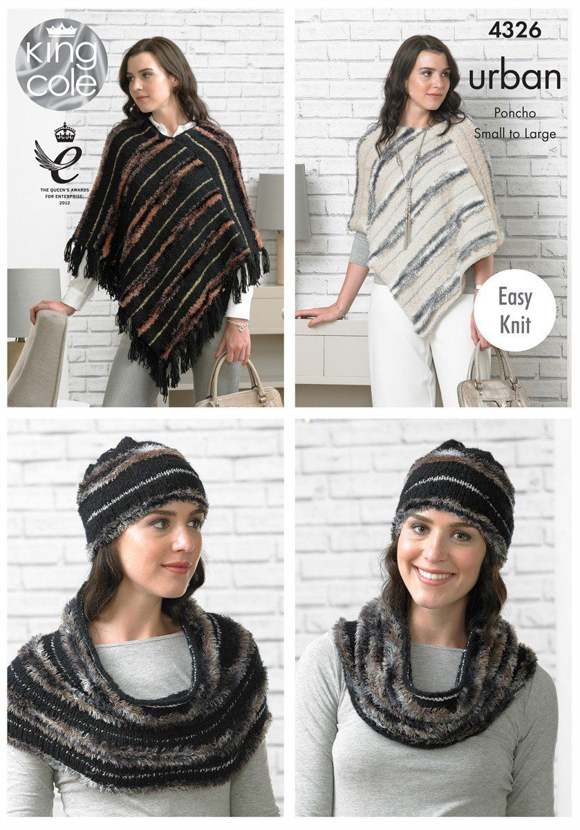 4326 - KING COLE URBAN ARAN EASY KNIT PONCHO HAT & SNOOD KNITTING PATTERN...