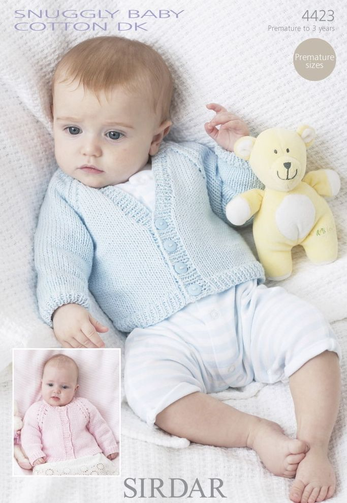 Sirdar Baby Knitting Patterns : 4423 - SIRDAR BABY COTTON DK CARDIGAN KNITTING PATTERN - PREMATURE TO 3 YEARS