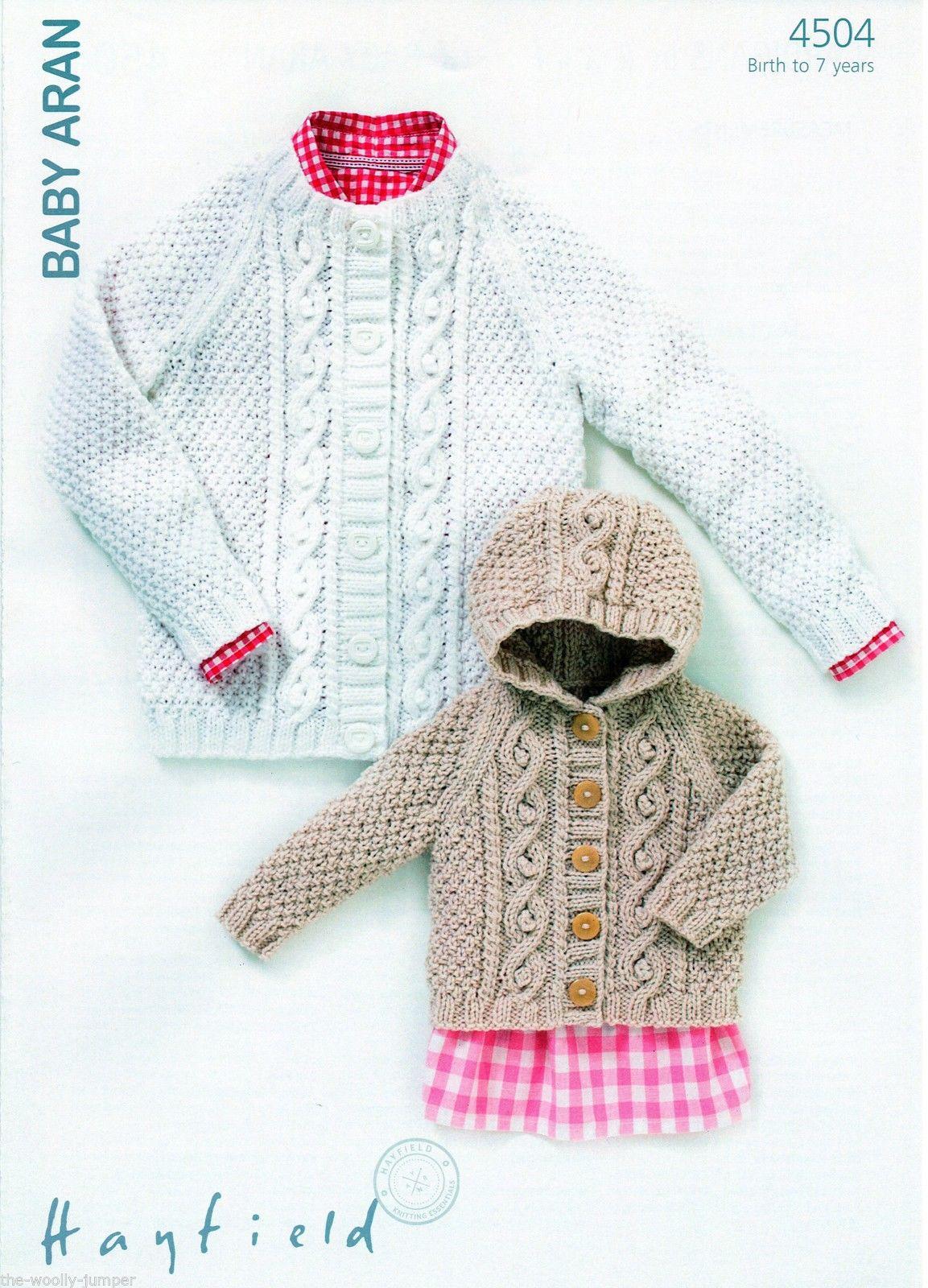 Toddler Aran Cardigan Knitting Pattern : 4504 - HAYFIELD BABY ARAN HOODED CARDIGAN KNITTING PATTERN ...