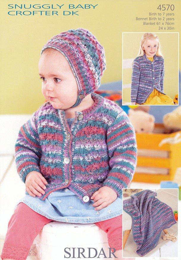Knitting Pattern Blanket Cardigan : 4570 - SIRDAR SNUGGLY BABY CROFTER DK CARDIGAN BONNET ...