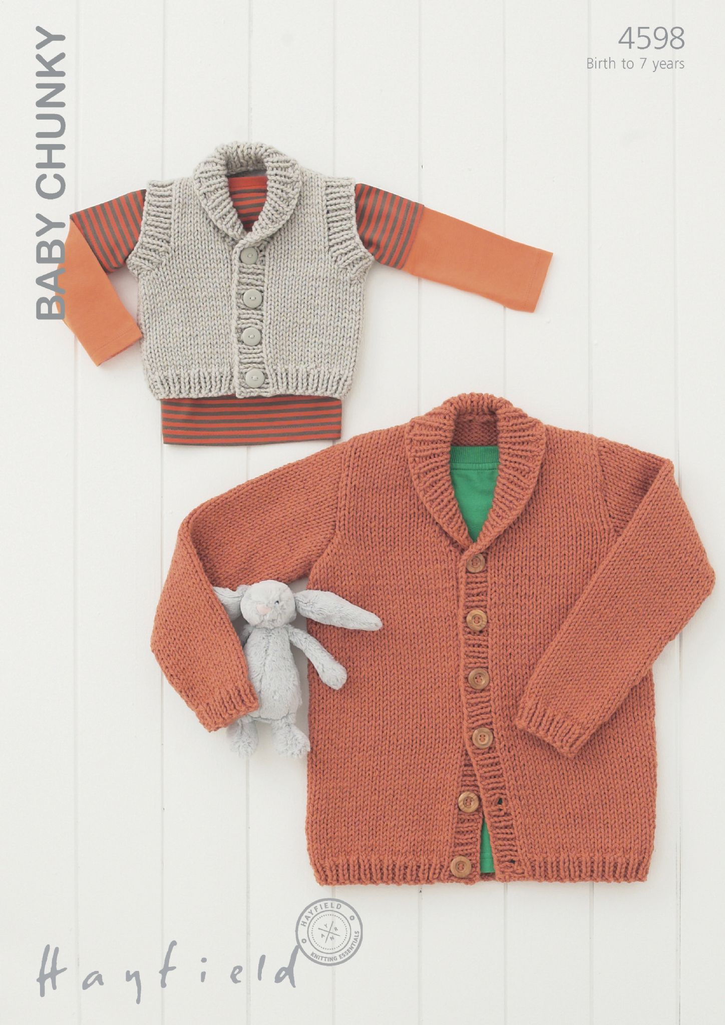 Hayfield Knitting Patterns For Babies : 4598 - HAYFIELD BABY CHUNKY SHAWL COLLARED CARDIGAN & WAISTCOAT KNITTING ...