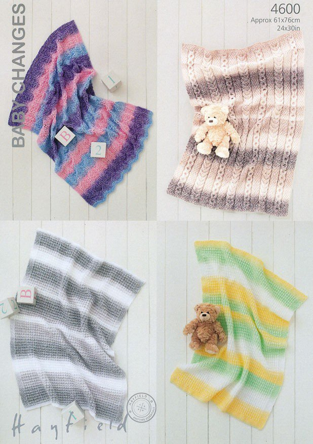 Hayfield Knitting Patterns For Babies : 4600 - HAYFIELD BONUS BABY CHANGES DK BLANKET KNITTING PATTERN - SIZE 61x76CM