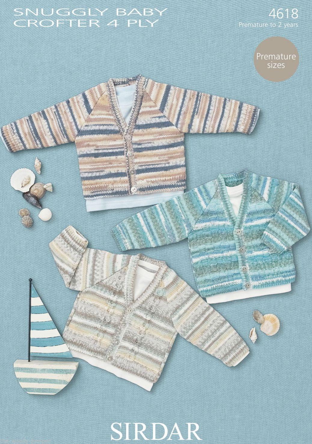 Sirdar 4 Ply Baby Knitting Patterns : 4618 - SIRDAR SNUGGLY BABY CROFTER 4 PLY CARDIGAN KNITTING PATTERN - TO FIT P...