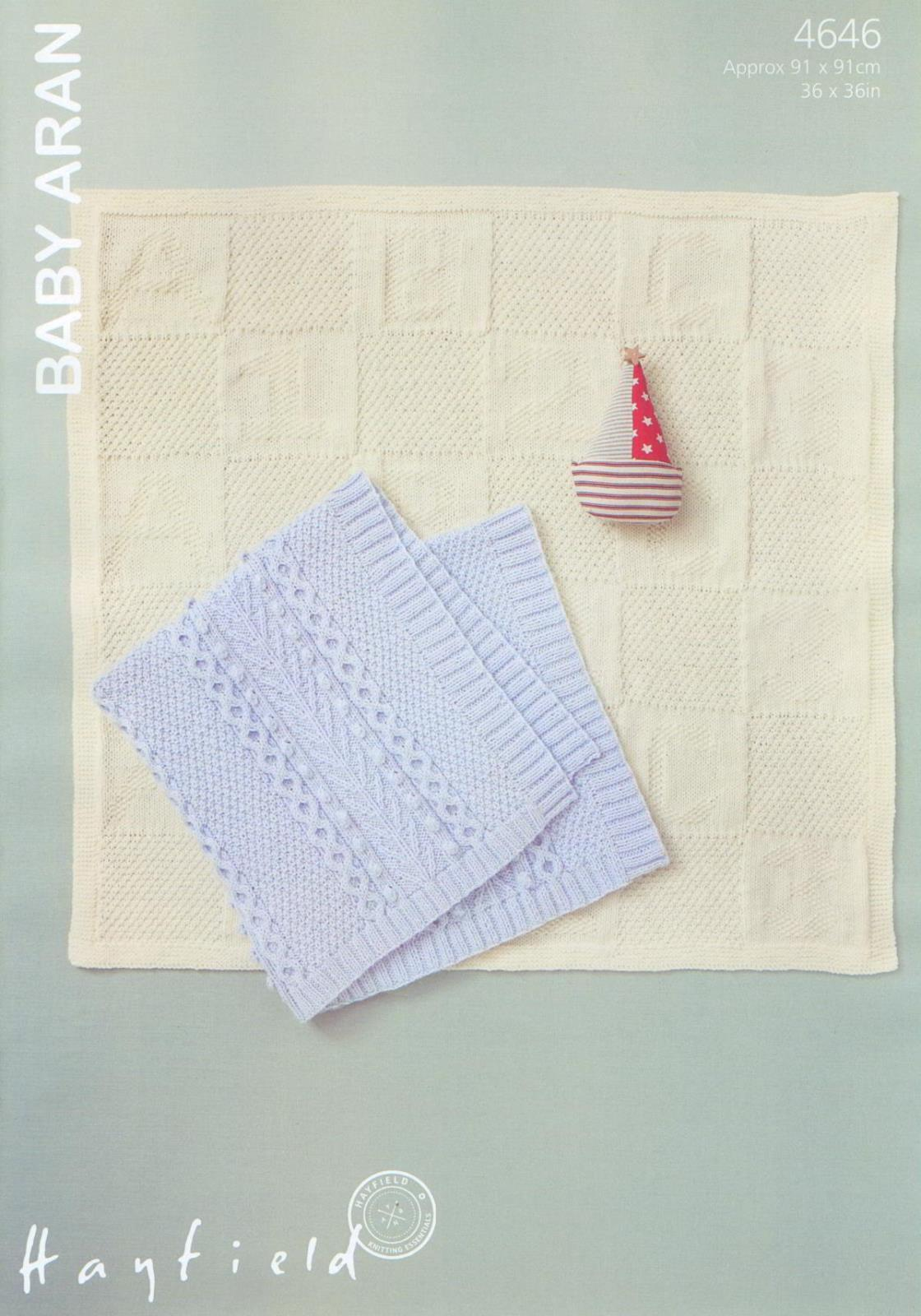4646 hayfield baby aran blanket knitting pattern approx 91 x 91cm bankloansurffo Choice Image