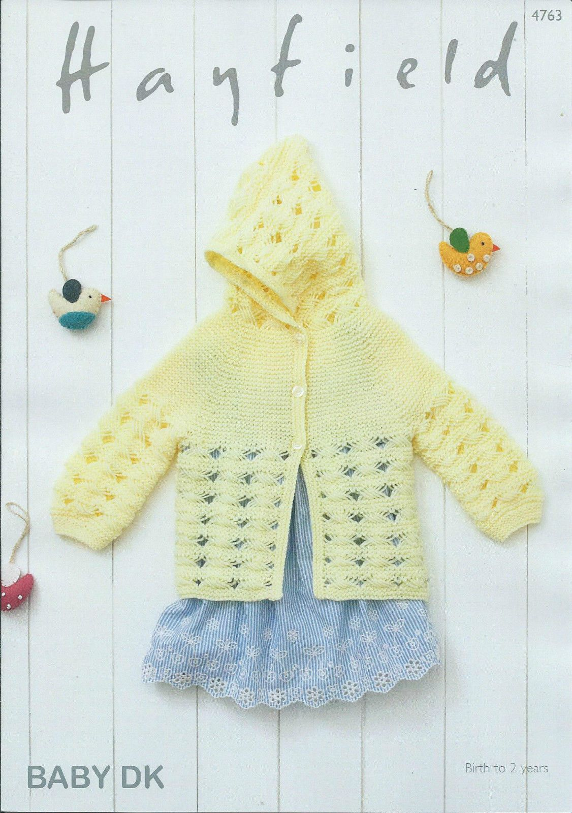 4763 - HAYFIELD BABY DK HOODED JACKET KNITTING PATTERN - TO FIT ...
