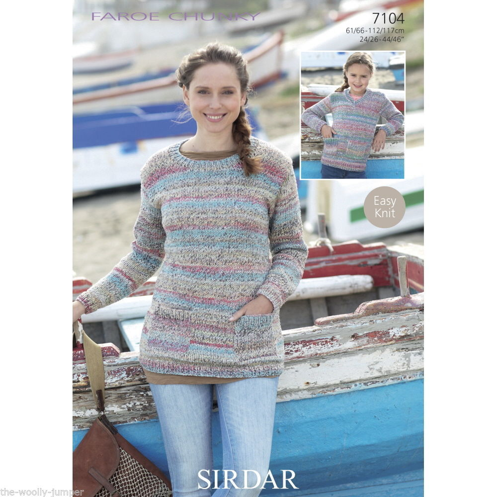 Sirdar Christmas Jumper Knitting Patterns : 7104 - SIRDAR FAROE CHUNKY SWEATER EASY KNIT KNITTING PATTERN - SIZE 24 TO 46