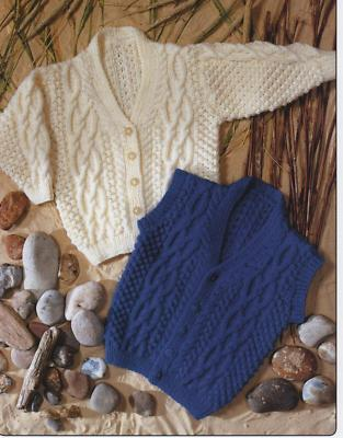 7214 - TEDDY CARDIGAN & WAISTCOAT ARAN KNITTING PATTERN - TO FIT 20 TO 28