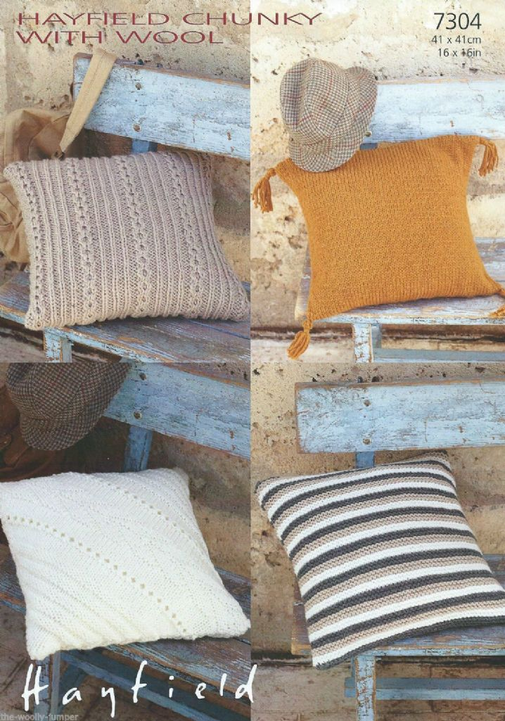 Knitting Pattern For Cushion Cover Chunky Wool : 7304 - HAYFIELD CHUNKY WITH WOOL CUSHION COVERS KNITTING PATTERN - SIZE 16x16