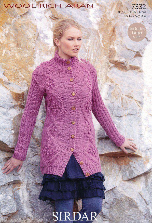 Aran Afghan Knitting Patterns Free : 7332 - SIRDAR WOOL RICH ARAN JACKET KNITTING PATTERN - TO FIT CHEST SIZE 32 T...