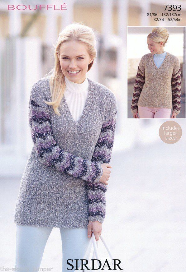 Tunic Sweater Knitting Pattern : 7393 - SIRDAR BOUFFLE TUNIC & SWEATER KNITTING PATTERN - TO FIT CHEST 32 ...
