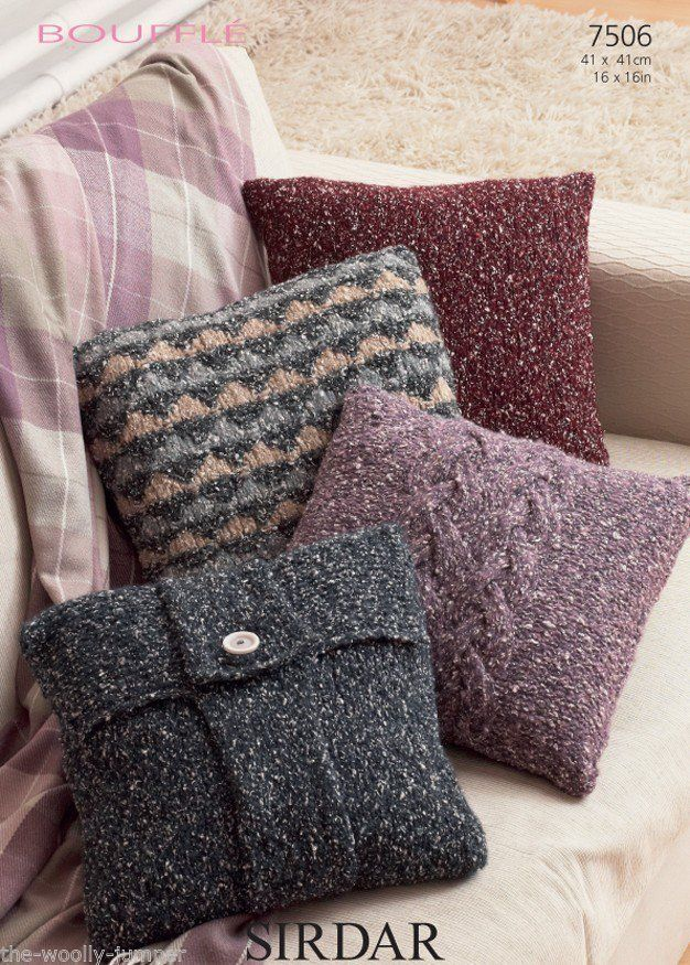 Knitting Pattern For Cushion Covers : 7506 - SIRDAR BOUFFLE CUSHION COVER KNITTING PATTERN - SIZE 41CMx41CM