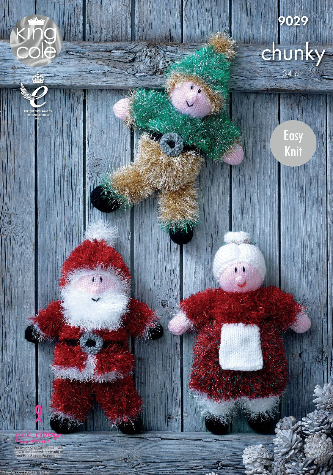 King Cole Tinsel Owl Knitting Pattern : 9029 - KING COLE EASY KNIT TINSEL CHUNKY CHRISTMAS TOYS KNITTING PATTERN