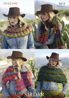 Knitting Patterns Lion Brand : 9314 - SIRDAR INDIE SCARF WRAP CAPE & COWL KNITTING PATTERN