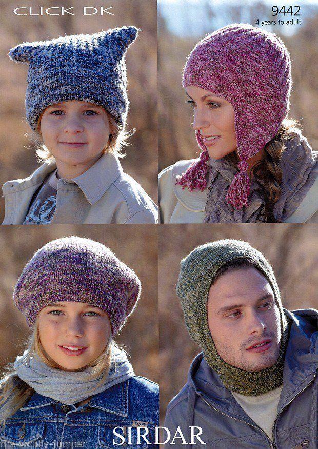Knitting Pattern For T Bag Hat : 9442 - SIRDAR CLICK DK BALACLAVA T-BAG HAT BERET & HELMET ...
