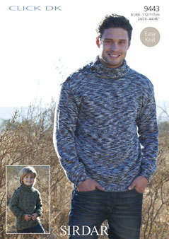 9443 - EASY KNIT Sirdar CLICK DK MENS BOYS SWEATER ...