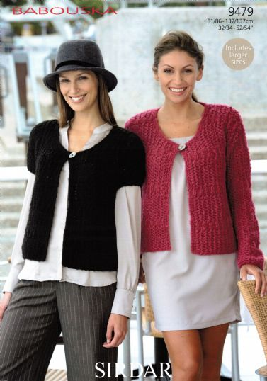 9479 Sirdar Babouska Chunky Long Short Sleeved Cardigan Knitting