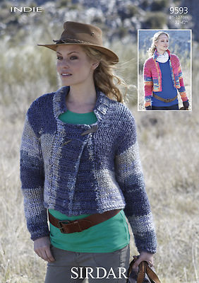 Knitting Patterns Lion Brand : 9593 - SIRDAR INDIE MEGA CHUNKY CARDIGAN JACKET KNITTING PATTERN - TO FIT CHE...