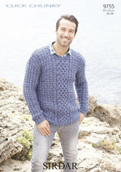 Knitting Pattern For Oxfam Jumper : 9755 - MENS SWEATER IN SIRDAR CLICK CHUNKY KNITTING PATTERN - size 38-48