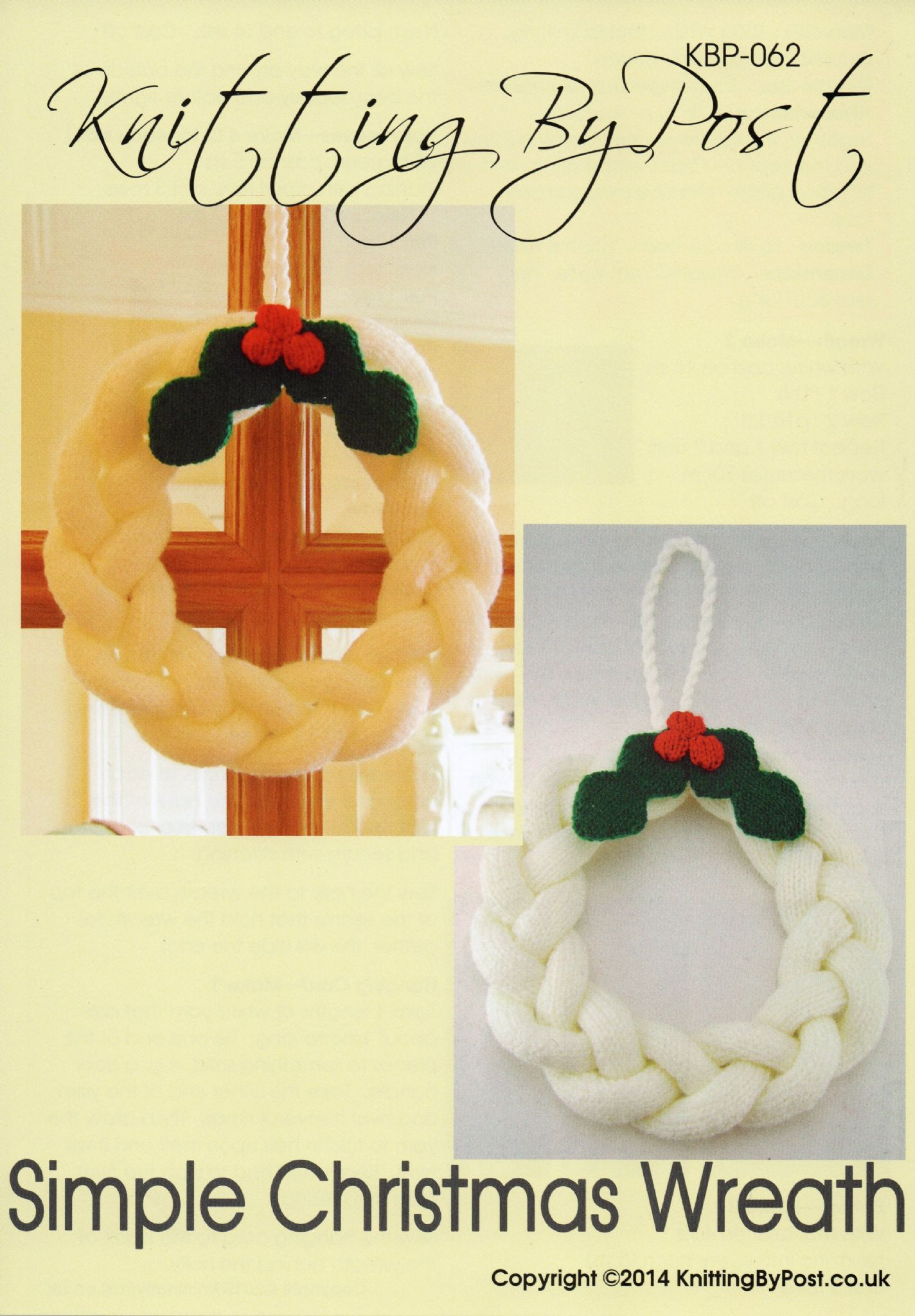 KBP-062 - KNITTING BY POST DK SIMPLE CHRISTMAS WREATH KNITTING PATTERN