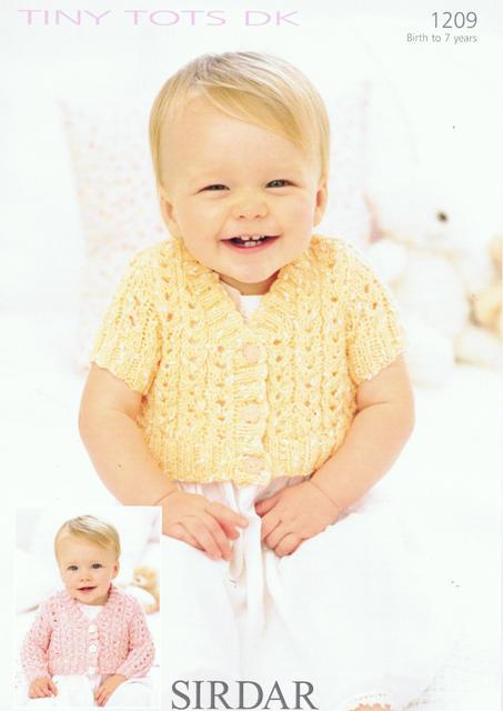 1209 Sirdar Tiny Tots Dk Long Short Sleeved Cardigan Knitting