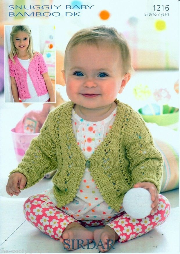 1216 Sirdar Snuggly Baby Bamboo Dk Cardigan Knitting Pattern To