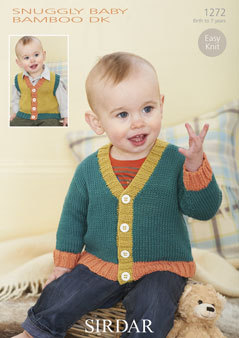 1272  -  SIRDAR SNUGGLY BABY BAMBOO DK KNITTING PATTERN - TO FIT  0 TO 7 YEARS
