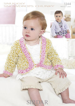 1344 -  SIRDAR SNUGGLY SNOWDROPS CHUNKY CARDIGAN KNITTING PATTERN - TO FIT 0 TO 7 YEARS