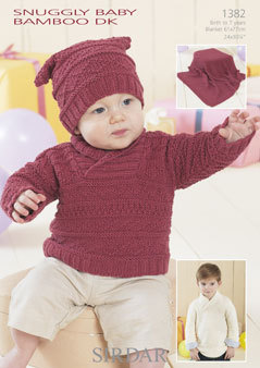 1382 Sirdar Snuggly Baby Bamboo Dk Sweater Blanket Hat