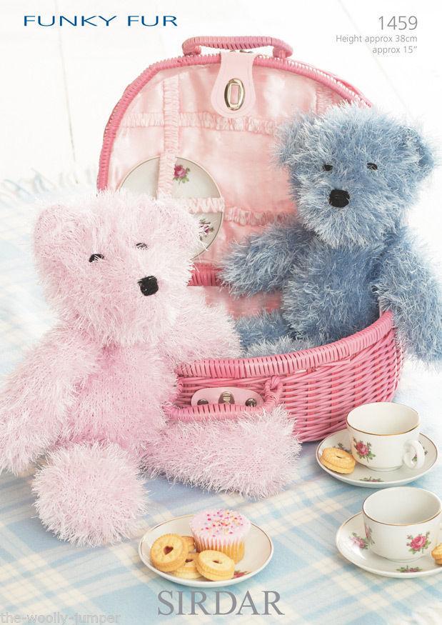 1459 Sirdar Funky Fur Teddy Bear Knitting Pattern Height Approx 15