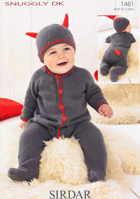 1461 - SIRDAR SNUGGLY DK LITTLE DEVIL ALL-IN-ONE & HAT KNITTING PATTERN - TO FIT 0 TO 2 YEARS