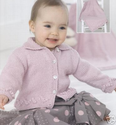 1732 Sirdar Snuggly Baby Bamboo Dk Cardigan Blanket Knitting