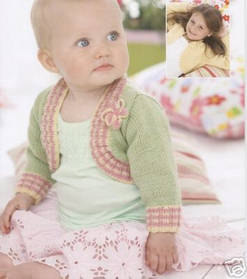 1763 - SIRDAR SNUGGLY DK BOLERO CARDIGAN - TO FIT 0-7 years