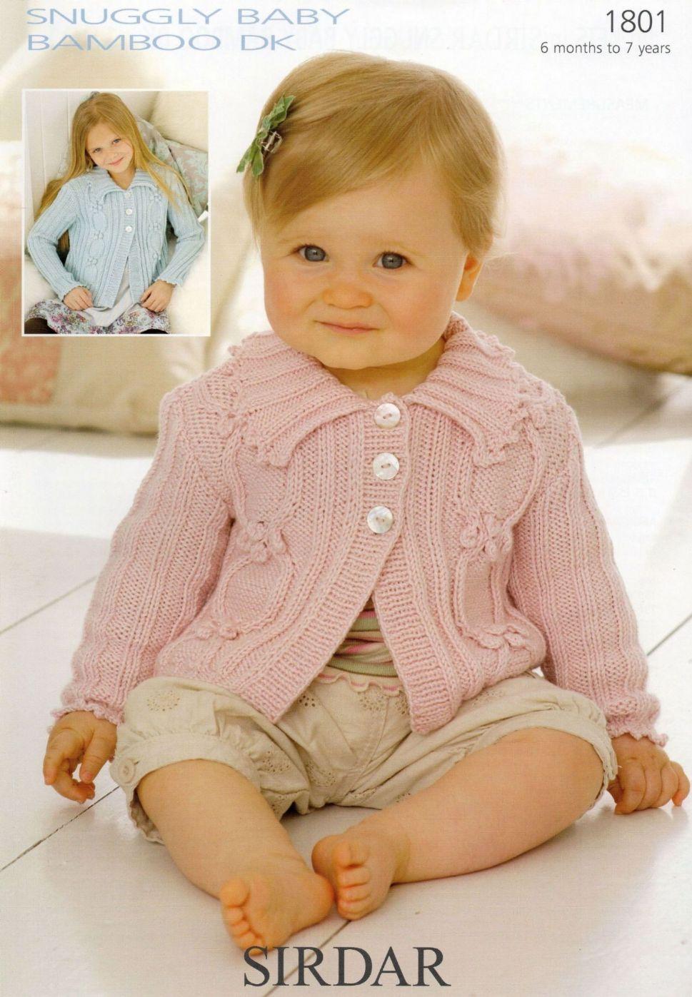 1801 Sirdar Snuggly Baby Bamboo Dk Cardigan Knitting