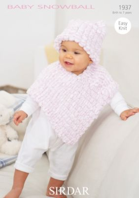 f521e5c0cdf13 1937 - SIRDAR BABY SNOWBALL POM POM YARN PONCHO HAT KNITTING PATTERN - TO  FIT - 0 to 7 YEARS