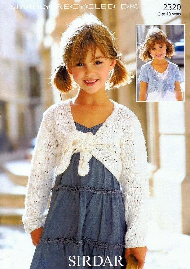 2320 - SIRDAR SIMPLY RECYCLED DK BOLERO KNITTING PATTERN - TO FIT 2 ...
