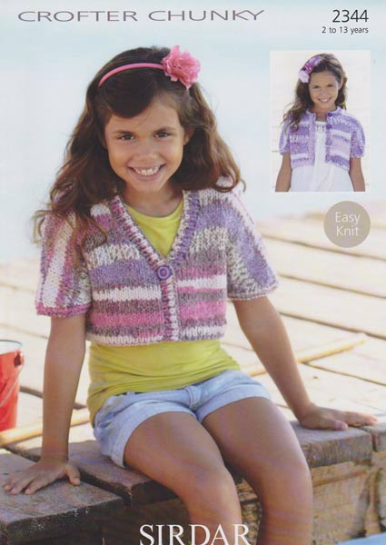 2344 Sirdar Crofter Chunky Girls Cropped Cardigan Knitting Pattern