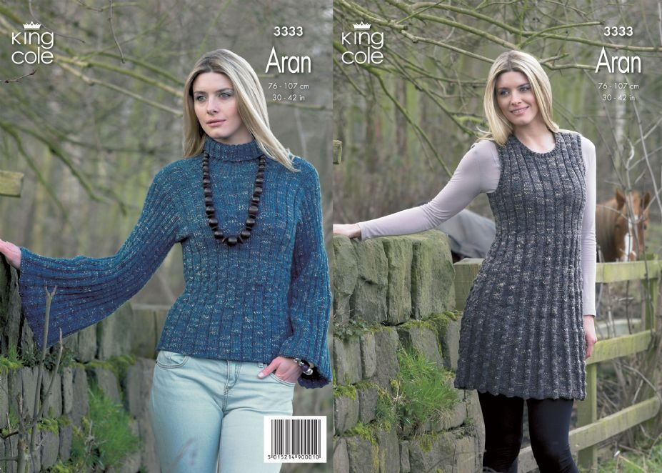Aran Jumper Dress Knitting Pattern : 3333 - KING COLE MOORLAND ARAN DRESS & SWEATER KNITTING PATTERN - TO FIT ...