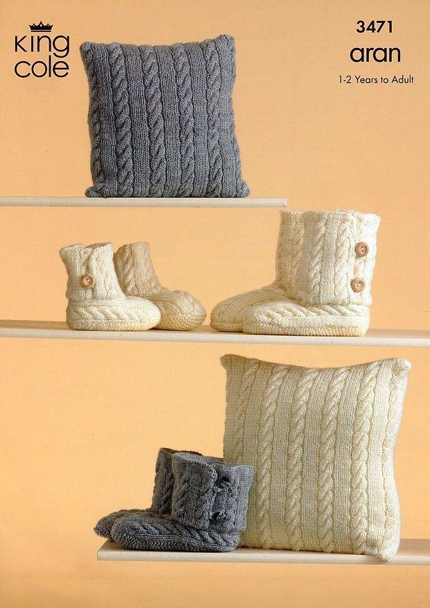 3471 King Cole Fashion Aran Slippers Cushion Knitting Pattern